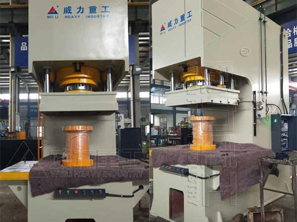 315吨单柱校直压装液压机_315T单臂压力机