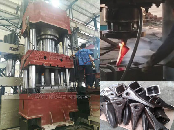 1500吨铲车斗齿热锻油压机-挖掘机斗齿锻